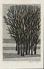 Fumio Fujita Woodblock Print - A Thicket 1964 -SOLD