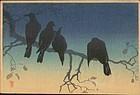 Takahashi Shotei Woodblock - Crows Cold Night SOLD