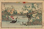 Rinsai Japanese Woodblock Print - Cormorants - 1890