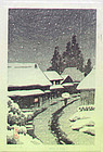 Hasui Woodblock Print -rare Terajima in Snow SOLD