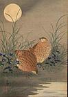 Ohara Koson Woodblock Print - Quail / Moon SOLD