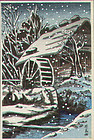 Ishiwata Koitsu Woodblock Print - Waterwheel in Winter