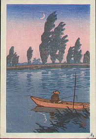 Kawase Hasui Woodblock Print - Fishing in Moonlight