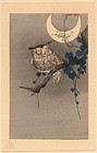 Ohara Koson Woodblock Print - Owl and Moon SOLD