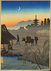Takahashi Shotei Japanese Woodblock Print - Returning SOLD