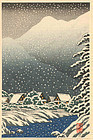 Shien Japanese Woodblock Print - Village in Snow