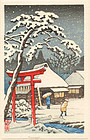 Tomoe Woodblock Print - Red Torii in Snow
