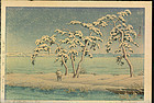 Kawase Hasui Woodblock Print - Snow at Hinuma SOLD