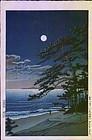 Kawase Hasui Woodblock - Moon at Ninomiya SOLD