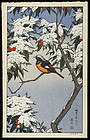 Toshi Yoshida Woodblock Print - Bird in Winter SOLD