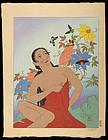 Paul Jacoulet Japanese Woodblock Print - Les Papillons