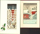 Two Miniature Japanese Woodblock Prints - Snow