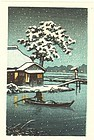 Hasui (Attrib.) Woodblock Print - Boat on Snowy Lake