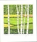 Fumio Fujita Woodblock Print - Mountain Birch SOLD