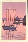 Kawase Hasui Japanese Woodblock Print - Katada