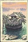 Shiro Kasamatsu Woodblock Print - Matsushima Snow