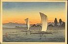 Takahashi Shotei Japanese Woodblock Print - Boats SOLD