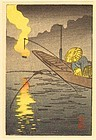 Hiroshige Ando Woodblock Print - Fishing Fire