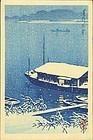 Kawase Hasui Woodblock Print - Snow at Arakawa
