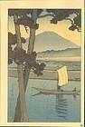 Kawase Hasui Woodblock Print - Fuji and Sailboat