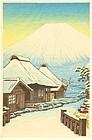 Shien Woodblock Print - Fuji and Snowy Village