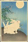 Ohara Koson 1st Ed. Woodblock Print - Rabbits Moon