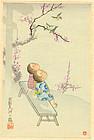 Japanese Woodblock Print - Children on Bench
