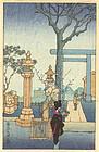 Japanese Woodblock Print - Yushima Tenjin Shrine