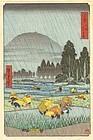 Hiroshige Japanese Woodblock Print - Rain at Rice Field