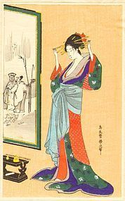 Chokosai Woodblock Print - Beauty Fixing Hair