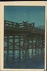 Kawase Hasui Japanese Woodblock Print - Uji Bridge SOLD