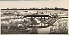Okuyama Gihachiro Woodblock Print - Walking on Bridge
