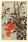 Ide Gakusui - Japanese Woodblock Print - Berries