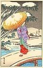 Hiroshige Ando Japanese Woodblock Print - Woman on Bridge in Snow