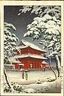 Tsuchiya Koitsu Japanese Woodblock Print - Zojoji in Snow