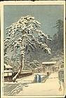 Kawase Hasui Japanese Woodblock Print - Ikegami Honmoji - 1931 1st Ed.