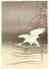 Ito Sozan Japanese Woodblock Print - Heron Chasing Fish in Rain