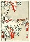 Ohara Koson (Shoson) Woodblock Print - Sparrows