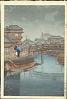 Kawase Hasui Japanese Woodblock Print - Shinagawa, Tokyo  in Rain