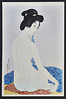 Hashiguchi Goyo Japanese Woodblock Print - Woman After Bath