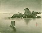 Ohara Koson Japanese WoodblockPrint - Matsushima - Sailing boat RARE