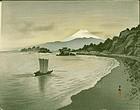Ohara Koson Japanese WoodblockPrint - Mt. Fuji - Sailing boat RARE