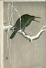 Ohara Koson Japanese Woodblock Print - Cawing Crow RARE