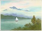 S. Niimi Pre-War Japanese Watercolor - Sailboat on Lake