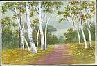 S. Niimi Pre-War Japanese Watercolor - Path Through Birch Trees