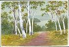 S. Niimi Pre-War Japanese Watercolor - Path Through Birch Trees