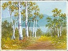 S. Niimi Pre-War Japanese Watercolor - Birch Path
