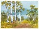S. Niimi Pre-War Japanese Watercolor - Birch Path