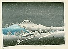 Hiroshige Ando Japanese Woodblock Print - Mt. Fuji in Snow - Chirimen