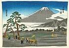 Hiroshige Ando Japanese Woodblock Print - Fuji From Hara  - Chirimen
